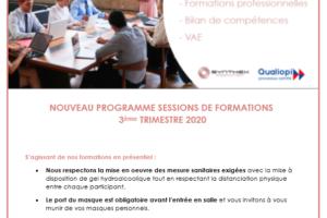 Programme formation 3ème trimestre 2020